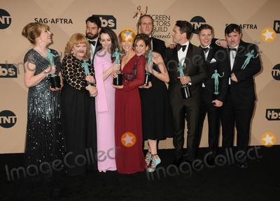 Allen Leech Photo - 30 January 2016 - Los Angeles California - Phyllis Logan Lesley Nicol Sophie McShera Joanne Froggatt and Raquel Cassidy Julian Ovenden Tom Cullen Allen Leech Kevin Doyle and Jeremy Swift Cast of Downton Abbey winners of the Outstanding Performance by an Ensemble in a Drama Series 22nd Annual Screen Actors Guild Awards held at The Shrine Auditorium Photo Credit Byron PurvisAdMedia