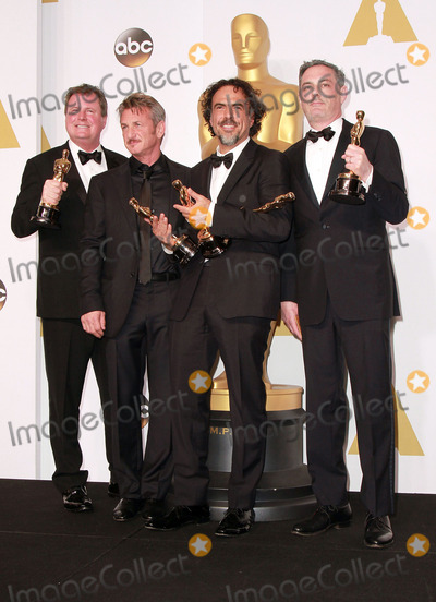Alexander Dinelaris Photo - 22 February 2015 - Hollywood California -(L-R) Writers Nicolas Giacobone Director Alejandro Gonzalez Inarritu Alexander Dinelaris and Armando Bo winners of Best Original Screenplay for Birdman pose  in the press room during the 87th Annual Academy Awards presented by the Academy of Motion Picture Arts and Sciences held at the Dolby Theatre Photo Credit Theresa BoucheAdMedia