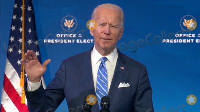 Queen Photo - United States President-elect Joe Biden makes remarks on the Public Health and Economic Crises from the Queen Theatre in Wilmington Delaware on Friday January 8 2021 Credit Biden Transition TV via CNPAdMedia