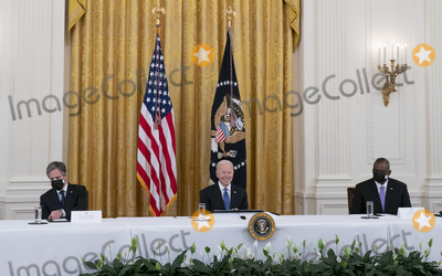 Antony Blinken Photo - United States President Joe Biden holds a Cabinet Meeting in the East Room of the White House in Washington DC on Thursday April 1 2021  President Biden announced that he is asking five cabinet members to explain his jobs plan to the American public  Pictured from left to right US Secretary of State Antony Blinken President Biden and US Secretary of Defense Lloyd J Austin IIICredit Leigh Vogel  Pool via CNPAdMedia