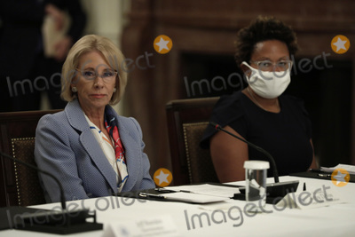 Devo Photo - United States Secretary of Education Betsy DeVos  participates with US President Donald Trump and First Lady Melania Trump in a National Dialogue on Safely Reopening Schools at the White House in Washington on July 7 2020 Credit Yuri Gripas  Pool via CNP