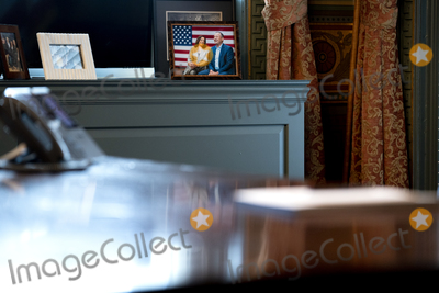 The Ceremonies Photo - A photo of US Vice President Kamala Harris and Second Gentleman Doug Emhoff is displayed in the ceremonial office of the Vice President following a swearing-in ceremony for Antony Blinken US secretary of state at the White House in Washington DC US on Wednesday Jan 27 2021 The Senate yesterday confirmed Blinken giving one of President Bidens longest-serving aides the task of resuming nuclear negotiations with Iran and restoring trust with allies shaken by four years of the Trump administration Credit Stefani Reynolds  Pool via CNPAdMedia