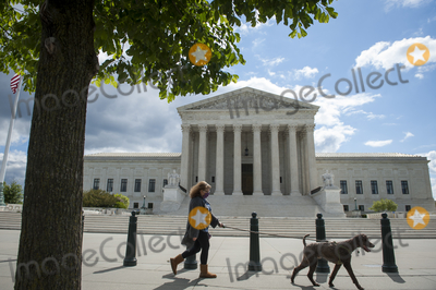 Supremes Photo - A woman walks her dog past the Supreme Court of the United States which began began hearing arguments considering whether or not President Trump can shield his income tax returns from disclosure keeping his private financial records from congressional committees and a New York prosecutor in Washington DC Tuesday May 12 2020 Credit Rod Lamkey  CNPAdMedia