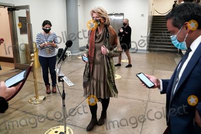 Lisa Murkowski Photo - Sen Lisa Murkowski (R-Alaska) addresses reporters in the basement of the Capitol while Senators break for dinner during the second day of the impeachment trial of former President Donald Trump on Wednesday February 10 2021Credit Greg Nash - Pool via CNPAdMedia
