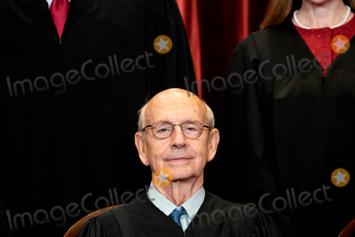 Supreme Court Photo - Associate Justice of the Supreme Court Stephen G Breyer sits during a group photo of the Justices at the Supreme Court in Washington DC on April 23 2021 Credit Erin Schaff  Pool via CNPAdMedia