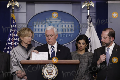 Alex Azar Photo - United States Vice President Mike Pence speaks during a press conference with members of the Coronavirus Task Force at the White House in Washington on March 3 2020 From left to right White House coronavirus response coordinator Dr Deborah Birx Vice President Pence Seema Verma Administrator Centers for Medicare and Medicaid Services and United States Secretary of Health and Human Services (HHS) Alex AzarCredit Yuri Gripas  Pool via CNPAdMedia