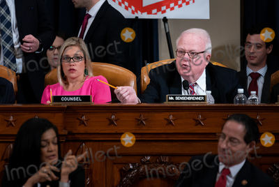 Hurts Photo - United States Representative F James Sensenbrenner (Republican of Wisconsin) right with Ashley Hurt Callen Republican staff counsel left speaks during a US House Judiciary Committee hearing considering articles of impeachment against US President Donald J Trump on Capitol Hill in Washington DC on December 9 2019Credit Erin Schaff  Pool via CNPAdMedia