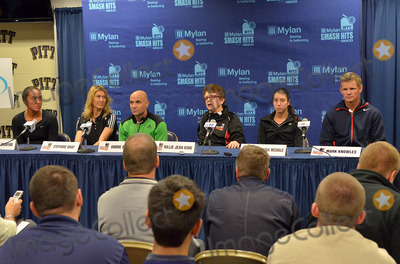 Andre Agassi Photo - 16 October 2012 - Pittsburgh PA - TEAM BILLIE JEAN (l to r SAMANTHA CRAWFORD STEFANIE GRAF ANDRE AGASSI BILLIE JEAN KING CHRISTINA McHALE and MARK KNOWLES) attends the Press Conference before the Mylan WTT Smash Hits World Team Tennis Match held at the Petersen Events Center The 20th anniversary edition of Mylan WTTSmash Hits presented by GEICO was one for the record books with the event posting a record 1 million for the Elton John AIDS Foundation with a portion of those proceeds benefitting the Pittsburgh AIDS Task Force Theevent hosted annually by Sir Elton John and Billie Jean King has now raised more the 115 million to support HIV and AIDS prevention and awareness programs since the first Smash Hits was held in Los Angeles in 1993  Photo Credit Jason L NelsonAdMedia