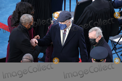 Barack Obama Photo - WASHINGTON DC - JANUARY 20 Former US President Barack Obama greets Sen Patrick Leahy (D-VT) and Sen Dick Durbin (D-IL) as he and former first lady Michelle Obama arrive to the inauguration of US President-elect Joe Biden on the West Front of the US Capitol on January 20 2021 in Washington DC  During todays inauguration ceremony Joe Biden becomes the 46th president of the United States (Photo by Tasos KatopodisGetty Images)AdMedia