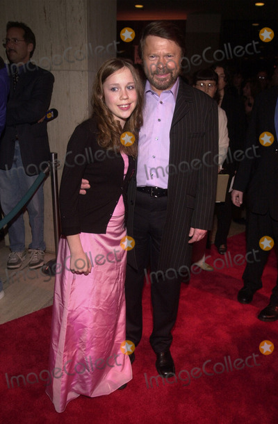 ABBA Photo - Bjorn Ulvaeus and daughter Anna at the premiere of MAMA MIA the musical based on the songs of ABBA Schubert Theater Century City 02-26-01