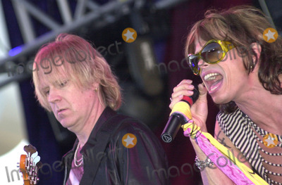 Aerosmith Photo -  Tom Hamilton and Steven Tyler of Aerosmith at the KIIS FM annual Wango Tango concert Dodger Stadium 06-01-01