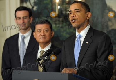 Eric Shinseki Photo - Washington DC - December 21 2009 -- United States President Barack Obama makes a statement on the SAVE (Securing Americans Value and Efficiency)  program in the Diplomatic Reception Room of the White House in Washington on December 21 2009 With him are Office of Management and Budget Director Peter R Orszag and Secretary of Veterans Affairs (VA) General Eric Shinseki (L to R) The award is given to Federal employees whose submit ideas for saving the government money The President also applauded the Senates vote to end a Republican filibuster aimed at blocking health care reformPhoto by Roger WallenbergPooL-CNP-PHOTOlinknet