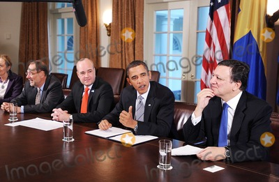 Javier Solana Photo - Washington DC - November 3 2009 -- (Left to Right) European Council High Representative Javier Solana Prime Minister of Sweden Fredrik Reinfeldt United States President Barack Obama and President of the European Commission Jos Manuel Barroso participate in the US-European Union Summit in the Cabinet Room at the White HousePhoto by Olivier DoulieryPool-CNP-PHOTOlinknet