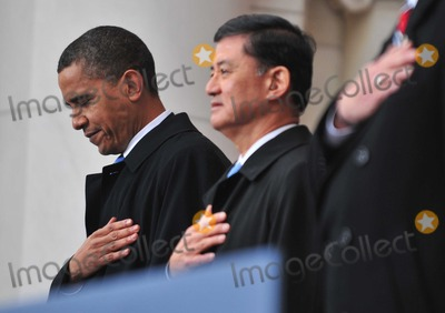 Eric Shinseki Photo - Arlington VA - November 11 2009 -- United States President Barack Obama (L) and Secretary of Veterans Affairs Eric Shinseki participate in a Veterans Day ceremony at Arlington National Cemetery in Arlington Virginia on Wednesday November 11 2009Photo by Kevin DietschPool-CNP-PHOTOlinknet