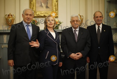 ABBA Photo - US Secretary of State Hillary Clinton (2nd L) gathers with Israels Prime Minister Benjamin Netanyahu (L) President of the Palestinian Authority Mahmoud Abbas (2nd R) and George Mitchell US Special Envoy for Middle East Peace in the Monroe Room of the State Department before their direct talks aimed at peace in the Middle East in Washington September 2 2010Photo by Jason ReedPoolCNP-PHOTOlinknet