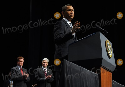 John Warner Photo - Fairfax VA - August 3 2009 -- United States President Barack Obama speaks during an event to mark the implementation of the Post-911 GI Bill at George Mason University in Fairfax Virginia on Monday August 3 2009 With him is US Senator Jim Webb (Democrat of Virginia) left and former US Senator John Warner (Republican of Virginia)   Photo by Roger WallenbergPOOL-CNP-PHOTOlinknet