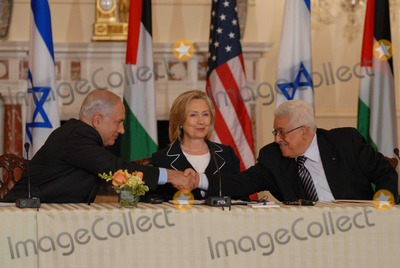 ABBA Photo - Washington DC 9022010RESTRICTED NEW YORKNEW JERSEY OUTNO NEW YORK OR NEW JERSEY NEWSPAPERS WITHIN A 75  MILE RADIUSSecretary Clinton hosts Abbas and Netanyahu peace talksSecretary of State Hillary Clinton hosts the re-launch of direct negotiations between Israeli Prime Minister Benjamin Netanyahu and Palestinian Authority President Mahmoud Abbas at the US State Department Netanyahu and Abbas shake hands after opening remarks marking the start of the negotiationsDigital photo by Elisa Miller-PHOTOlinknet