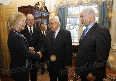 ABBA Photo - US Secretary of State Hillary Clinton (L) welcomes Israels Prime Minister Benjamin Netanyahu (R) President of the Palestinian Authority Mahmoud Abbas (2nd R) and George Mitchell US Special Envoy for Middle East Peace (2nd L) in the Monroe Room of the State Department moments before direct talks aimed at peace in the Middle East in Washington September 2 2010Photo by Jason ReedPoolCNP-PHOTOlinknet