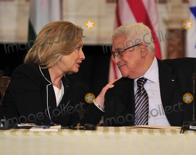 ABBA Photo - United States Secretary of State Hillary Rodham Clinton shares some thoughts with President Mahmoud Abbas of the Palestinian Authority as she hosts the Relaunch of Direct Negotiations Between the Israelis and Palestinians in the Benjamin Franklin Room of the US Department of State on Thursday September 2 2010  Credit Ron Sachs  CNP(RESTRICTION NO New York or New Jersey Newspapers or newspapers within a 75 mile radius of New York City)