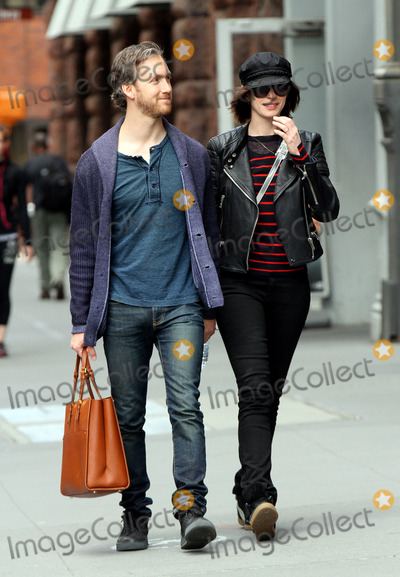 Adam Shulman Photo - April 26 2015 New York CityActress Anne Hathaway wears a biker jacket and cap as she walks with her husband Adam Shulman in the East Village on April 26 2015 in New York CityBy Line Nancy RiveraACE PicturesACE Pictures Inctel 646 769 0430