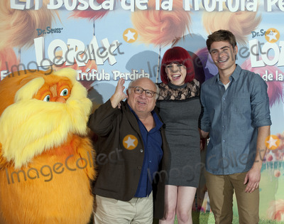 The Lorax Photo - (L-R) Actor Danny DeVito singer Angy and actor Zac Efron at a photocall for Dr Seuss The Lorax at Villa Magna Hotel on March 8 2012 in Madrid Spain