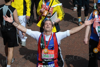 Andrew Strauss Photo - Andrew Strauss finishes the 2013 London Marathon on The Mall London 22042013 Picture by Steve Vas  Featureflash