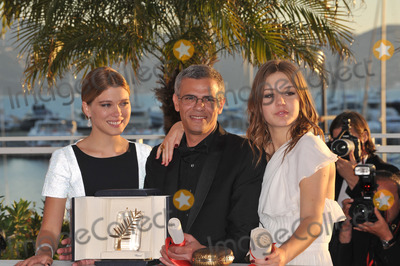 Abdellatif Kechiche Photo - Palme DOr winners Lea Seudoux Adele Exarchopoulos  director Abdellatif Kechiche at the closing awards gala of the 66th Festival de CannesMay 26 2013  Cannes FrancePicture Paul Smith  Featureflash