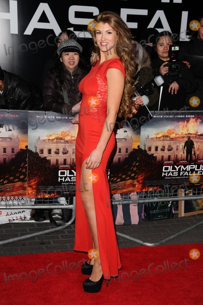 Amy Willerton Photo - Amy Willerton arriving for the Olympus has Fallen premiere at the Imax South Bank London 03042013 Picture by Steve Vas  Featureflash