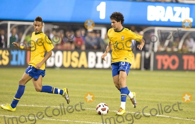 Alexandre Pato Photo - Brazil forwards Neymar (L) and Alexandre Pato (R) pictured on the attack during the US vs Brazil game at the New Meadowlands Stadium on August 10 2010 in East Rutherford New Jersey
