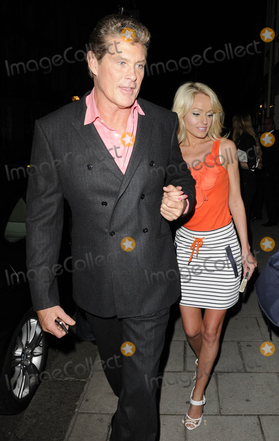 Hayley Roberts Photo - London UK  David Hasselhoff and girlfriend Hayley Roberts   at the Theatre Royal Haymarket after a performance of  Flare Point 28th May 2011 Can NguyenLandmark Media