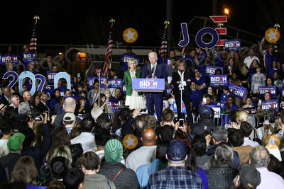 Joe Biden Photo - BALDWIN HILLS LOS ANGELES CALIFORNIA USA - MARCH 03 Former Vice President Joe Biden 2020 Democratic presidential candidate speaks while his wife Jill Biden left and sister Valerie Biden right stand during the Jill and Joe Biden 2020 Super Tuesday Los Angeles Rally held at the Baldwin Hills Recreation Center on March 3 2020 in Baldwin Hills Los Angeles California United States (Photo by Xavier CollinImage Press Agency)