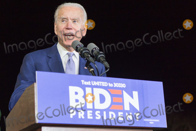 Joe Biden Photo - BALDWIN HILLS LOS ANGELES CALIFORNIA USA - MARCH 03 Former Vice President Joe Biden 2020 Democratic presidential candidate speaks during his Super Tuesday Los Angeles Rally held at the Baldwin Hills Recreation Center on March 3 2020 in Baldwin Hills Los Angeles California United States (Photo by Rudy TorresImage Press Agency)