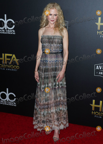 Nicole Kidman Photo - BEVERLY HILLS LOS ANGELES CA USA - NOVEMBER 04 Actress Nicole Kidman wearing a Dior dress and clutch Manolo Blahnik shoes Nak Armstrong earrings and Ana Khouri rings arrives at the 22nd Annual Hollywood Film Awards held at The Beverly Hilton Hotel on November 4 2018 in Beverly Hills Los Angeles California United States (Photo by Xavier CollinImage Press Agency)