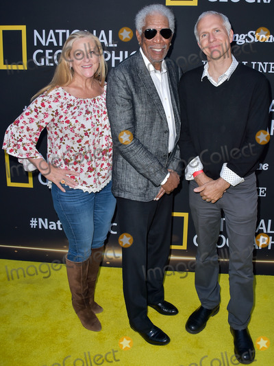The National Photo - LOS ANGELES CALIFORNIA USA - JUNE 02 Lori McCreary Morgan Freeman and James Younger arrive at the National Geographics Contenders Showcase held at The Greek Theatre on June 2 2019 in Los Angeles California United States (Photo by Image Press Agency)