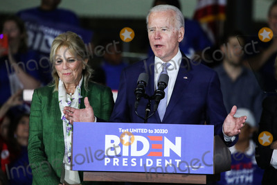 Joe Biden Photo - BALDWIN HILLS LOS ANGELES CALIFORNIA USA - MARCH 03 Former Vice President Joe Biden 2020 Democratic presidential candidate speaks while his wife Jill Biden left stands during the Jill and Joe Biden 2020 Super Tuesday Los Angeles Rally held at the Baldwin Hills Recreation Center on March 3 2020 in Baldwin Hills Los Angeles California United States (Photo by Xavier CollinImage Press Agency)