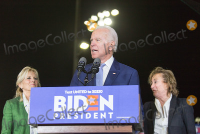 Vice President Joe Biden Photo - BALDWIN HILLS LOS ANGELES CALIFORNIA USA - MARCH 03 Former Vice President Joe Biden 2020 Democratic presidential candidate speaks while his wife Jill Biden left and sister Valerie Biden right stand at Joe Bidens Super Tuesday Los Angeles Rally held at the Baldwin Hills Recreation Center on March 3 2020 in Baldwin Hills Los Angeles California United States (Photo by Rudy TorresImage Press Agency)