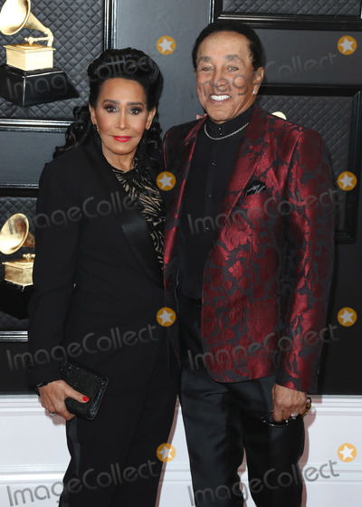 Smokey Robinson Photo - LOS ANGELES CALIFORNIA USA - JANUARY 26 Frances Glandney and Smokey Robinson arrive at the 62nd Annual GRAMMY Awards held at Staples Center on January 26 2020 in Los Angeles California United States (Photo by Xavier CollinImage Press Agency)