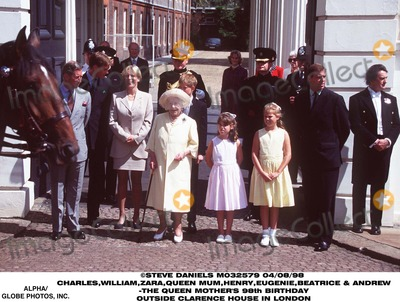 QUEEN MUM Photo - 0898 Prince Charlesprince Williamzara Phillipsqueen Motherprince Henryprincess Eugenieprincess Beatrice  Prince Andrew -the Queen Mothers 98th Birthday Outside Clarence House in London