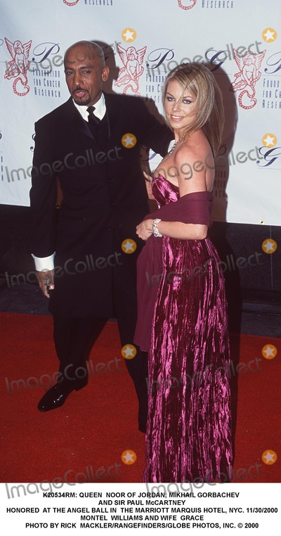 Montel Williams Photo -  Queen Noor of Jordan Mikhail Gorbachev and Sir Paul Mccartney Honored at the Angel Ball in the Marriott Marquis Hotel NYC 11302000 Montel Williams and Wife Grace Photo by Rick MacklerrangefindersGlobe Photos Inc