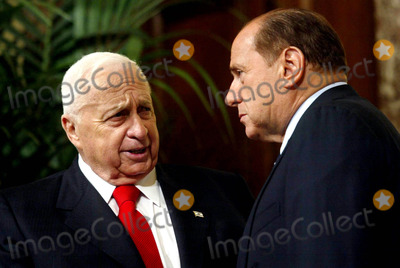 Ariel Sharon Photo - Rome Israelian Prime Minister in Italy Pic Show Prime Minister Silvio Berlusconi and Ariel Sharon and Gianfranco Fini 11182003 Photo Bymauro ScrobognalapresseGlobe Photos Inc 2003