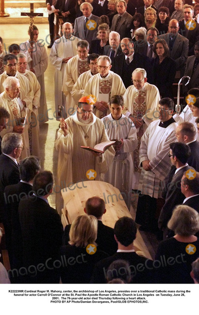Carroll OConnor Photo - K22223MRCardinal Roger M Mahony center the archbishop of Los Angeles presides over a traditional Catholic mass during the funeral for actor Carroll OConnor at the St Paul the Apostle Roman Catholic Church in Los Angeles  on Tuesday June 26 2001  The 76-year-old actor died Thursday following a heart attack PHOTO BY AP PhotoDamian Dovarganes PoolGLOB EPHOTOSINC