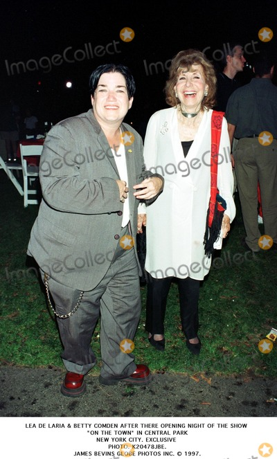 Betty Comden Photo - Lea DE Laria  Betty Comden After There Opening Night of the Show on the Town in Central Park New York City Exclusive Photo K20478jbe James Bevins Globe Photos Inc 1997