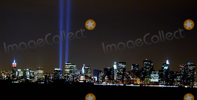 MANHATTAN SKYLINE Photo - Manhattan Skyline with World Trade Center Memorial Lights  Seen From Bayonne New Jersey 4702 Photo Bruce Cotler Credit Bruce CotlerGlobe Photos Inc