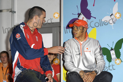 Kevin Pietersen Photo - K53568 Kevin Pietersen and Lewis Hamilton pose for pics as Hamilton hands over his Vodafone McLaren Mercedes go-kart to a lucky punter following auction on eBay to raise money for Tommys The Baby Charity Event is to promote launch of Vodafone Mobile Internet London  06-21-2007Photo by Mike Marsland-Spotlight Press-Globe Photos inc