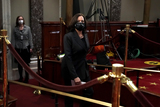 Alex Padilla Photo - Vice President Harris arrives to participate in ceremonial swearing in photo ops with Sens Patrick Leahy (D-Vt) and Alex Padilla (D-Calif) in the Old Senate Chamber at the US Capitol in Washington DC on Thursday February 4 2021Credit Greg Nash  Pool via CNP