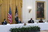 Antony Blinken Photo - United States President Joe Biden holds a Cabinet Meeting in the East Room of the White House in Washington DC on Thursday April 1 2021  President Biden announced that he is asking five cabinet members to explain his jobs plan to the American public  Pictured from left to right US Secretary of State Antony Blinken President Biden US Secretary of Defense Lloyd J Austin III and US Secretary of Commerce Gina RaimondoCredit Leigh Vogel  Pool via CNPAdMedia
