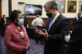 Photo - Wearing a face masks to reduce the risk posed by the coronavirus United States Representative Sheila Jackson Lee (Democrat of Texas)(L) talks about the Black Lives Matter movement with Federal Bureau of Investigation Director Christopher Wray following a hearing of the House Homeland Security Committee about worldwide threats to the homeland in the Rayburn House Office Building on Capitol Hill September 17 2020 in Washington DC Committee Chairman Bennie Thompson (D-MS) said he would issue a subpoena for acting Homeland Security Secretary Chad Wolf after he did not show for the hearing An August Government Accountability Office report found that Wolfs appointment by the Trump Administration which has regularly skirted the Senate confirmation process was invalid and a violation of the Federal Vacancies Reform ActCredit Chip Somodevilla  Pool via CNPAdMedia