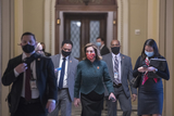 Photos From Speaker of the United States House of Representatives Nancy Pelosi (Democrat of California) walks from the House chamber to her office during a vote at the U.S. Capitol