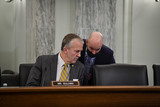 Alaska  Photo - United States Senator Dan Sullivan (Republican of Alaska) confers with staff during a Senate Committee on Commerce Science and Transportation  Subcommittee on Security hearing to examine United States Coast Guard capabilities for safeguarding national interests and promoting economic security in the Arctic in the Russell Senate Office Building on Capitol Hill in Washington DC Tuesday December 8 2020 Credit Rod Lamkey  CNPAdMedia