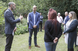 Photo - Photo Must Be Credited Alpha Press 073074 16072020Prince William Duke of Cambridge speaks with speaks Steven Pettican Chief Executive of Light Project Peterborough left and people in partnership with the project during a visit to the Garden House part of the Light Project in Peterborough Cambridgeshire The Garden House offers information advice and support to the rough sleepers in Peterborough No UK Rights Until 28 Days from Picture Shot Date AdMedia
